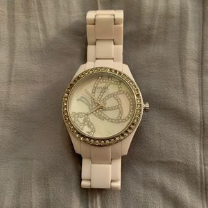 Fossil watch - white with diamonds